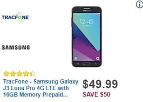 Best Buy Black Friday: TracFone Samsung Galaxy J3 Luna Pro 4G LTE with 16GB Memory Prepaid Cell Phone for $49.99