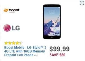 Best Buy Black Friday: Boost Mobile LG Stylo 3 4G LTE with 16GB Memory Prepaid Cell Phone for $99.99