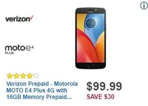 Best Buy Black Friday: Verizon Prepaid Motorola MOTO E4 Plus 4G with 16GB Memory Prepaid Cell Phone for $99.99