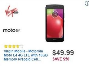 Best Buy Black Friday: Virgin Mobile Motorola Moto E4 4G LTE with 16GB Memory Prepaid Cell Phone for $49.99