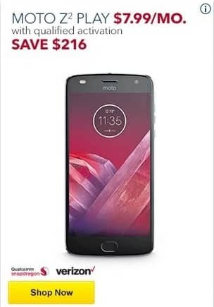 Best Buy Black Friday: Moto Z2 Play w/ Qualified Activation - Save $216