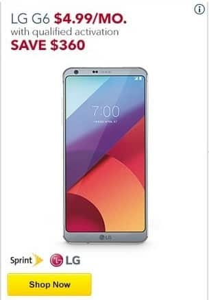 Best Buy Black Friday: LG G6 w/ Qualified Activation - Save $360