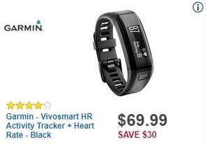 Best Buy Black Friday: Garmin Vivosmart HR Activity Tracker + Heart Rate for $69.99
