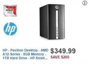 Best Buy Black Friday: HP Pavilion Desktop - AMD A12-Series - 8GB Memory - 1TB Hard Drive for $349.99