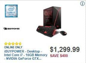 Best Buy Black Friday: iBUYPOWER Desktop Intel Core i7, 16GB RAM, 240GB SSD, 2TB HDD, Win 10 for $1,299.99