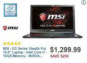 "Best Buy Black Friday: MSI GS Series Stealth Pro 15.6"" Laptop Intel Core i7, 16GB Ram, 256GB SSD, 1TB HDD, Win 10 for $1,299.99"