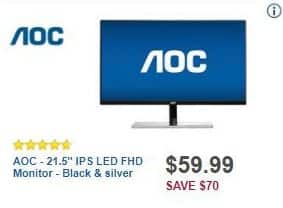 "Best Buy Black Friday: AOC 21.5"" IPS LED FHD Monitor for $59.99"