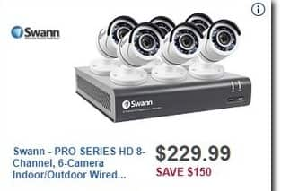 Best Buy Black Friday: Swann PRO SERIES HD 8-Channel, 6-Camera Indoor/Outdoor Wired 500GB DVR Surveillance System for $229.99