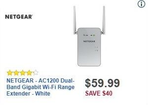 Best Buy Black Friday: NETGEAR AC1200 Dual-Band Gigabit Wi-Fi Range Extender for $59.99