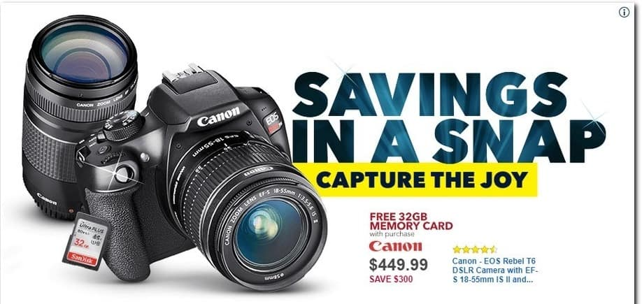 Best Buy Black Friday: Canon EOS Rebel T6 DSLR Camera with EF-S 18-55mm IS II and EF 75-300mm III Lens + 32GB Memory Card for $449.99