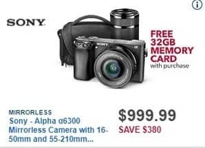 Best Buy Black Friday: Sony Alpha α6300 Mirrorless Camera with 16-50mm and 55-210mm Lenses + 32GB Memory Card for $999.99