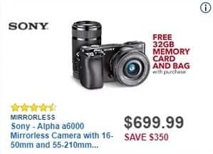 Best Buy Black Friday: Sony Alpha a6000 Mirrorless Camera with 16-50mm and 55-210mm Lenses + 32GB Memory Card & Bag for $699.99