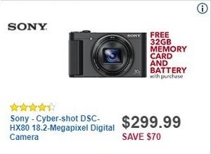 Best Buy Black Friday: Sony Cyber-shot DSC-HX80 18.2-Megapixel Digital Camera + 32GB Memory Card & Battery for $299.99