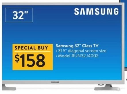 "Walmart Black Friday: 32"" Samsung UN32J4002 720p LED TV for $158.00"