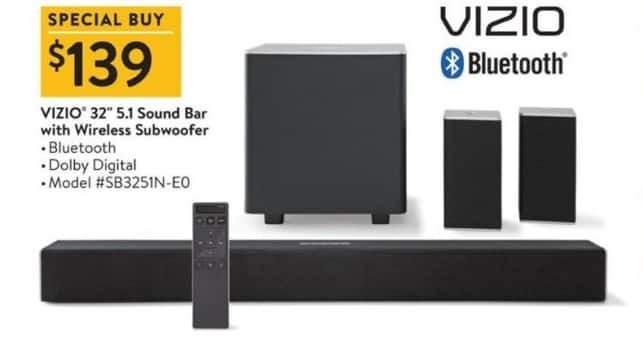 Black Friday Vizio 32 5 1 Sound Bar W Wireless Subwoofer For 139 00 See Deal