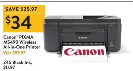 Walmart Black Friday: Canon Pixma MS490 Wireless All-In-One Printer for $34.00