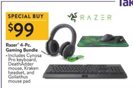 Walmart Black Friday: Razer 4-pc Gaming Bundle - Includes Keyboard, Mouse, Headset & Mouse Pad for $99.00
