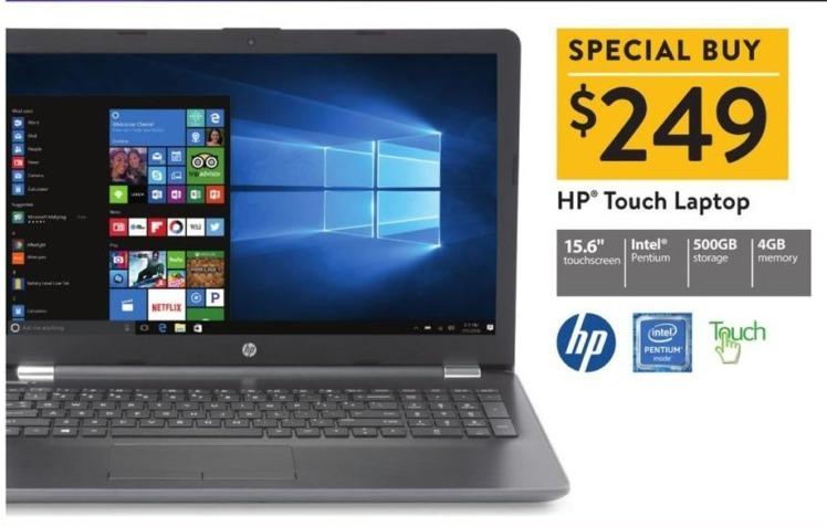 "Walmart Black Friday: HP 15.6"" Touchscreen Laptop Intel Pentium, 4GB Ram, 500GB HDD, Win 10 for $249.00"