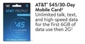 Walmart Black Friday: AT&T 30-Day Mobile Card for $45.00