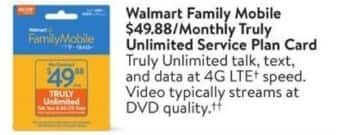 Walmart Black Friday: Walmart Family Mobile Monthly Truly Unlimited Service Plan Card for $49.88