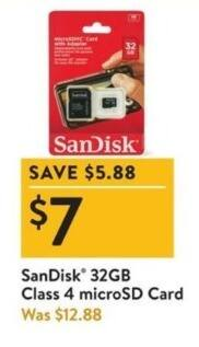 Walmart Black Friday: SanDisk 32GB Class 4 microSD Card for $7.00