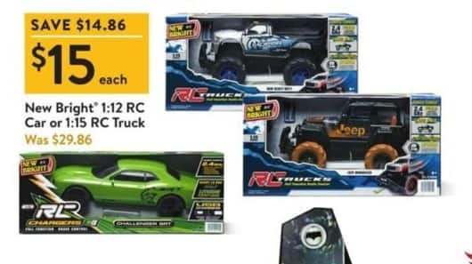 Walmart Black Friday: New Bright 1:12 RC Car or 1:15 RC Truck for $15.00