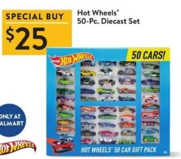 Walmart Black Friday: Hot Wheels 50-pc Diecast Set for $25.00
