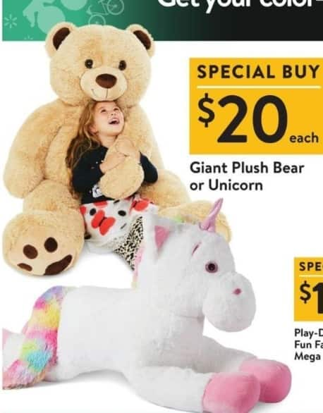 Walmart Black Friday: Giant Plush Bear or Unicorn for $20.00