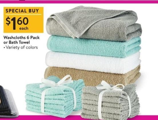 Walmart Black Friday: Washcloths 6-pack or Bath Towel for $1.60