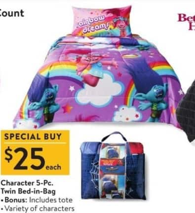 Walmart Black Friday: 5-pc Character Twin Bed-in-Bag for $25.00