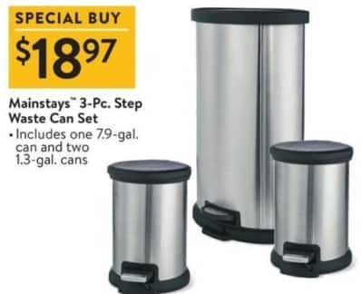 Walmart Black Friday: Mainstays 3-pc Step Waste Can Set for $18.97