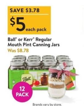 Walmart Black Friday: Ball or Kerr Regular Mouth Pint Canning Jars for $5.00