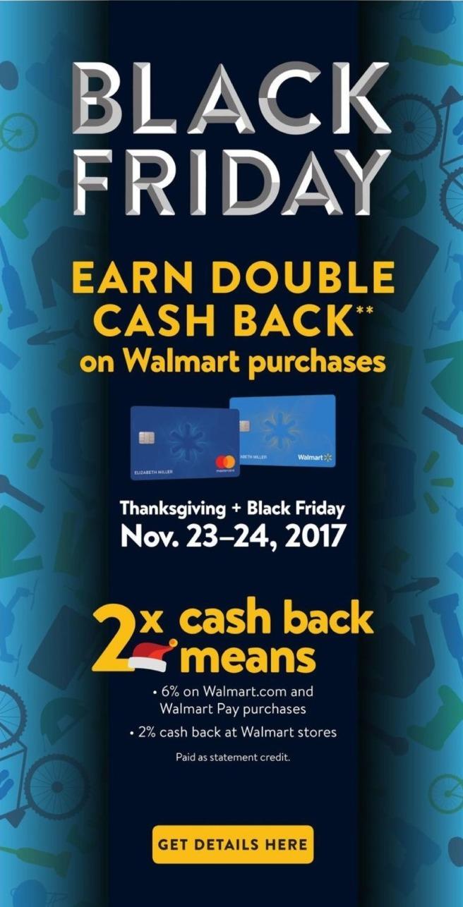 Walmart Black Friday: Walmart Purchases w/ Walmart Credit Card - Earn Double Cash Back