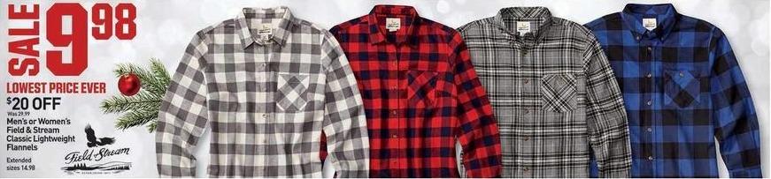 Dicks Sporting Goods Black Friday: Field & Stream Classic Lightweight Flannels for Men or Women for $9.98
