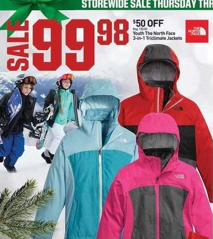 Dicks Sporting Goods Black Friday: The North Face 3-in-1 Triclimate Jacket - Youth Size for $99.98