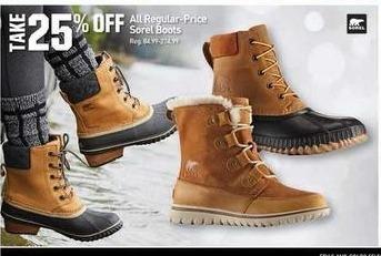 Dicks Sporting Goods Black Friday: All Regular Price Sorel Boots - 25% Off