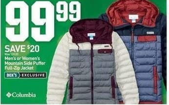 Dicks Sporting Goods Black Friday: Columbia Mountain Side Puffer Full Zip Jacket for Men or Women for $99.99