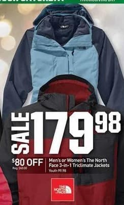 Dicks Sporting Goods Black Friday: The North Face 3-in-1 Triclimate Jackets for Men or Women for $179.98