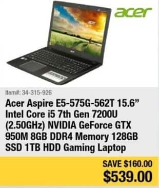 """Newegg Black Friday: Acer Aspire 15.6"""" Gaming Laptop Intel Core i5, 8GB Ram, 1TB HDD, Win 10 for $539.00"""