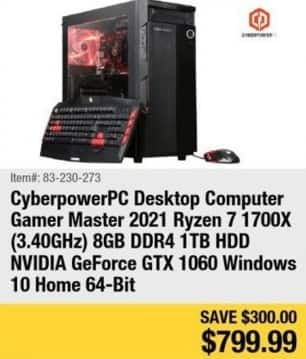 Newegg Black Friday: CyberpowerPC Desktop Computer Ryzen 7 1700X, 8GB Ram, 1TB HDD, Win 10 for $799.99