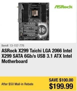 Newegg Black Friday: ASRock X299 Taichi Intel X299 ATX Intel Motherboard for $199.99 after $50.00 rebate