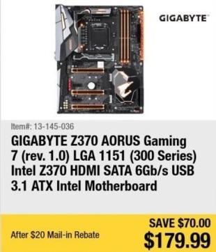 Newegg Black Friday: GIGABYTE Z370 AORUS Gaming 7 Intel Z370 ATX Motherboard for $179.99 after $20.00 rebate