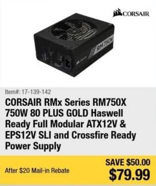 Newegg Black Friday: Corsair RMx Gold Series 750W ATX12 & SPS12V SLi & Crossfire Ready Power Supply for $79.99 after $20.00 rebate