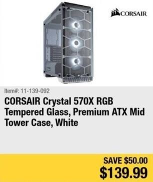 Newegg Black Friday: Corsair Crystal 570X RGB Tempered Glass Computer Case for $139.99