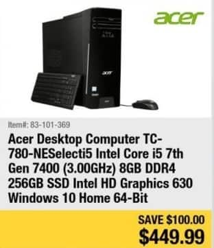 Newegg Black Friday: Acer Desktop Computer Intel Core i5, 8GB Ram, 256GB SSD, Win 10 for $449.99