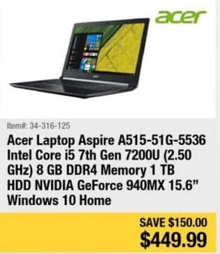 "Newegg Black Friday: Acer Aspire 15.6"" Laptop Intel Core i5, 8GB Ram, 1TB HDD, Win 10 for $449.99"