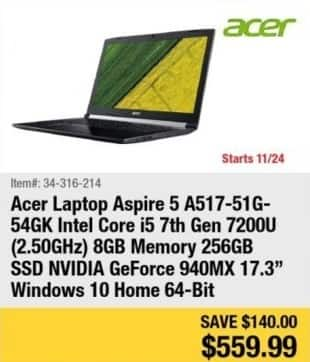 Newegg Black Friday: Acer Aspire 5 Laptop Intel Core i5, 8GB Ram, 256GB SSD, Win 10 for $559.99