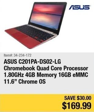 """Newegg Black Friday: Asus 11.6"""" Chromebook Quad Core Processor, 4GB Ram, 16GB eMMC, Chrome OS for $169.99"""