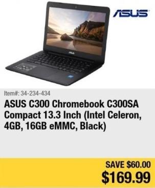 "Newegg Black Friday: Asus C300 13.3"" Chromebook Intel Celeron, 4GB, 16GB eMMC for $169.99"