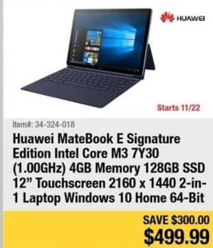 "Newegg Black Friday: Huawei Matebook 12"" Touchscreen Laptop Intel Core M3, 4GB Ram, 128GB SSD, Win 10 for $499.99"